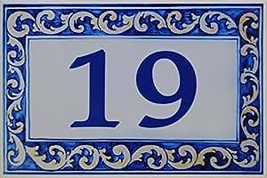 Plaque de Maison Céramique avec Nom de famille, Nom de villa... personnalisé - Choisissez votre texte - 20x30X0,8cm