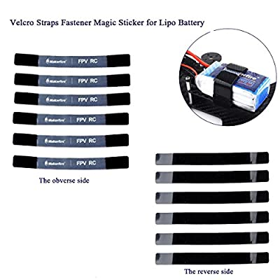 6Pack 180mm Lipo Battery Straps, Non-Slip Magic Sticker for RC Multirotor FPV Quadcopter Racing Drone Batteries Velcro Straps Fastener by MakerStack