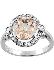 Revoni 14ct oro colgantes Natural Oval 10 x 8 mm anillo de diamantes