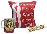 #4: Saugat Trader Best Gift for Girlfriend/Wife Combo Pack Love Cushion, Ferrero Rocher Chocolate & Love Coffee Mug