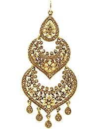 Shining Jewel Beige Brass Maang Tikka with Kundan and Pearls for Women