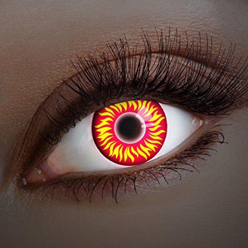 aricona Kontaktlinsen Farblinsen rote UV Kontaktlinsen farbig Halloween Linsen zum Teufel Kostüm