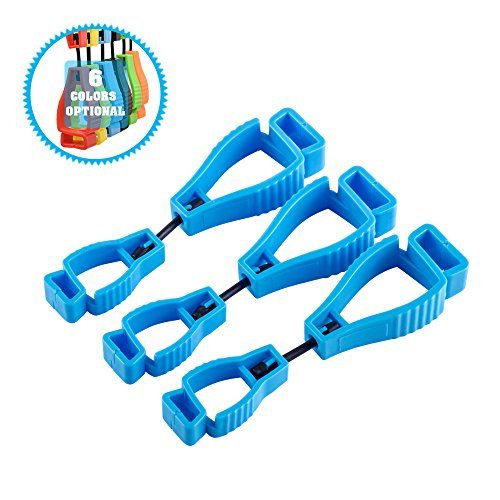 Blau-arbeits-handschuhe (3 Stück Handschuh Clip,Für mit Karabiner Haken und Feuerwehr Handschuh Grabber Arbeits Handschuh Halter-Klammer (Blau))