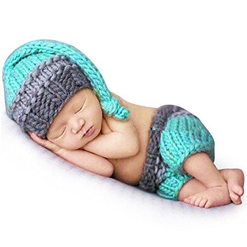 Preisvergleich Produktbild Newborn Unisexbaby Häkelarbeit Strick Hut Kostüm Fotografie Stütze Ausstattungs Set