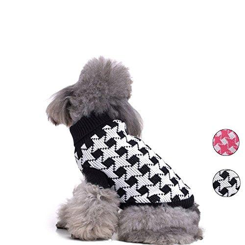 HongYH Gestrickte Hundepullover, Schwarz Weiß Hundebekleidung, Rollkragen Hundeweste Bekleidung für kleine Hunde -