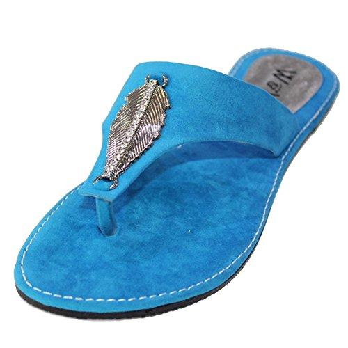 W & W Frauen Damen Abend auf Casual Slip flach Komfort Sandale Schuhe Größe Blau, Rot (san509) Blau