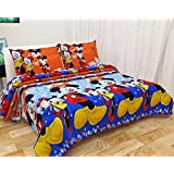 Sky Tex Orange Color Cotton Cartoon Printed 140 TC Bed Sheet With 2 Pillow Covers