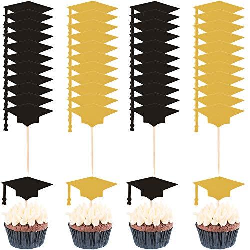 60 Sets Graduierung Kuchen Topper Graduierung Deckel Zahnstocher Papier Cupcake Topper Dekorationen für 2019 Graduierung Party Vorräte (Schwarze, Gold) (60 Kuchen-deckel Gold)