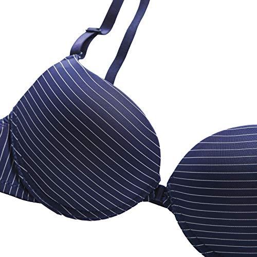 UKKD BHS für Damen, gestreift, spitz, B C, Push-Up-Pad, Draht Unterwäsche, BH, Bralette Intim-Reißverschluss vorne Gr. 85B, LT - 5