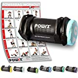 POWRX Power Bag I 5-30 kg I Kunstleder Fitness Bag für Functional Fitness (10 kg Schwarz/Hellblau)