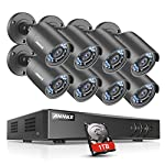 ANNKE CCTV Camera Systems 8CH+2CH 1080P Lite H.264+ DVR w/ 8 720P Outdoor HD-TVI Bullet Cameras, 1TB Surveillance Hard Drive, All-weather Adaptation, Email Alert with Images