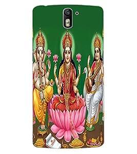 ColourCraft Lords Ganesha Maa Laxmi and Maa Saraswati Design Back Case Cover for OnePlus One