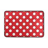 My Täglich Klassische rot und weiß Polka Punkt gedruckt Fußmatte 15,7x 23,6, Wohnzimmer Schlafzimmer Küche Bad Deko Einzigartiges leicht Teppiche