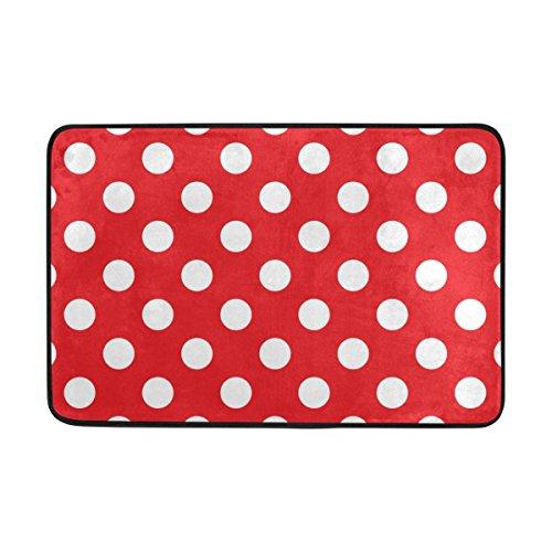 ALAZA My Täglich Klassische rot und weiß Polka Punkt gedruckt Fußmatte 15,7x 23,6, Wohnzimmer Schlafzimmer Küche Bad Deko Einzigartiges leicht Teppiche