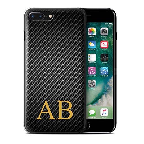 Personalisiert Kohlenstoff-Faser Muster Hülle für Apple iPhone 7 Plus / Blau Stempel Design / Initiale/Name/Text Schutzhülle/Case/Etui Grau Monogramm