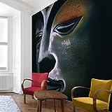 Apalis Vliestapete Assam Buddha Fototapete Quadrat | Vlies Tapete Wandtapete Wandbild Foto 3D Fototapete für Schlafzimmer Wohnzimmer Küche | Größe: 288x288 cm, schwarz, 97496