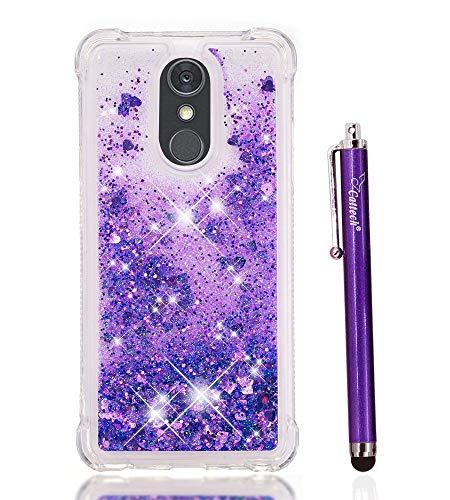 LG Stylo 4Hülle Glitzer, LG Stylo 4Plus/LG F Stylus Fall, cattech Liquid Bling Sparkle glänzend beweglichen Treibsand-Slim Klar TPU Bumper Schutzhülle rutschfest stoßfest Cover + Stylus, Violett Lg Gummi