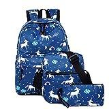 HhGold Dunkel Pferd 3 Teiliges Schultaschen-Set Canvas Schulrucksack und Umhängetasche und Mäppchen für Mädchen Damen Jugendliche (Farbe : Blau)