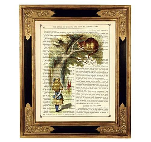Alice im Wunderland Grinsekatze Druck Kunstdruck auf antiker Buchseite Geschenk für Frauen Kinder Taufe Geburtstag Steampunk ungerahmt