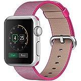 Kartice for Apple Watch Band, Tissé Nylon Bandes Remplacement Bracelet Bracelet Bracelet avec Boucle Classique pour Apple Watch / Sport / Edition (Rose, 38mm)