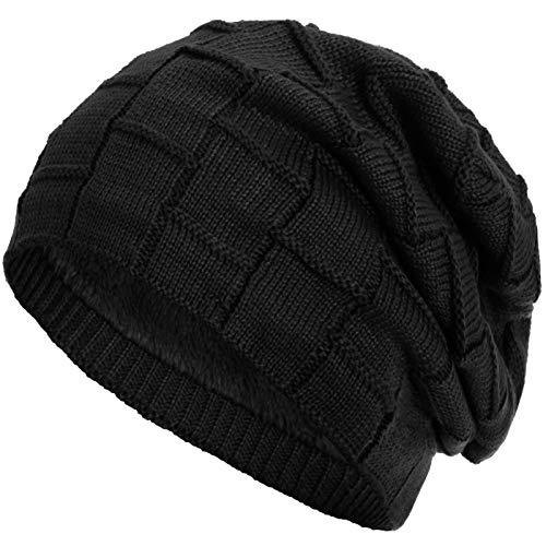 Compagno Gorro de invierno tipo slouch beanie de punto cesta con suave interior de forro polar, Color:Negro