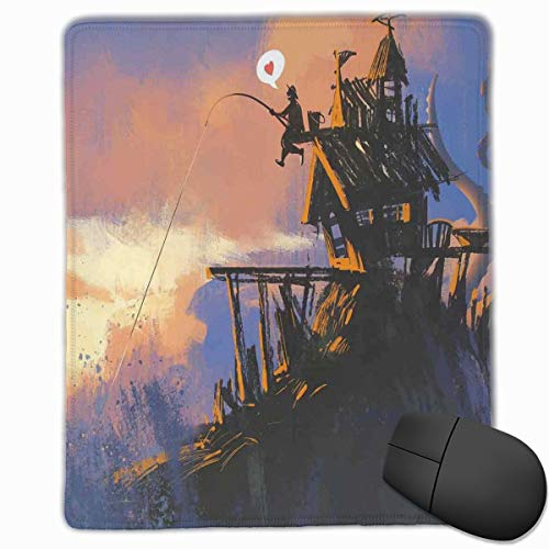 Mouse Mat Stitched Edges, Fisherman Sitting On The Castle Standing Over Rocky Cliffs Haunted Paint,Gaming Mouse Pad Non-Slip Rubber Base -