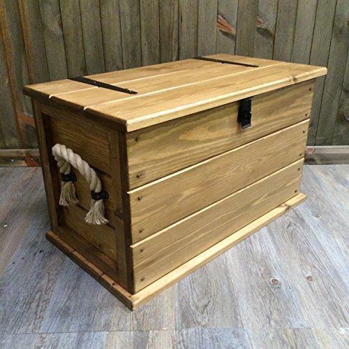 Handmade Rustico massello pino Tronco. Tavolino. Bagagliaio/Toy Box. Cesta per