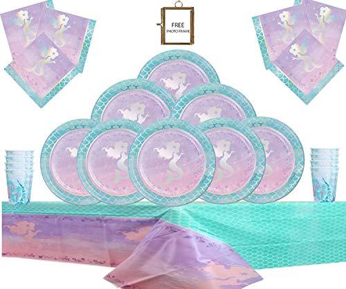 Irisierende Meerjungfrau Party Supplies Kinder Geburtstag Party Geschirr Kit - Folie Meerjungfrau Glanz Partydekorationen 16 Gäste KOSTENLOSER Foto-Rahmen