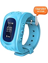 Witmoving Childrens Smartwatch GPS Tracker Kids Wrist Watch Phone Sim Anti-lost SOS Bracelet Parent Control By iPhone IOS Android Smartphone (Blue)