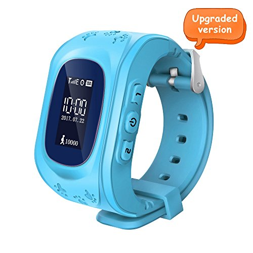 Witmoving Bambini Smartwatch GPS Tracker Orologio Telefono sim antifurto SOS braccialetto Parent controllo da iPhone IOS Android Smartphone (Blu)