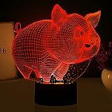 3d schwein nachtlicht illusion lampe 7 farbe ändern führte an usb - tabelle geschenk kinder spielzeug dekor und weihnachten zum valentinstag geschenk -