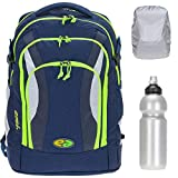 Schulrucksack Rucksack YZEA Air mit Brustgurt 26 L modernes Tragesystem, mit Flasche und Regenschutz fr (Night 635 (blau))