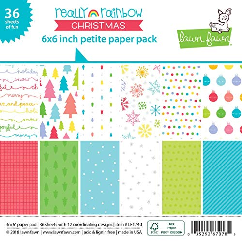 Lawn Fawn, Really Rainbow Christmas Petite Paper Pack, 6
