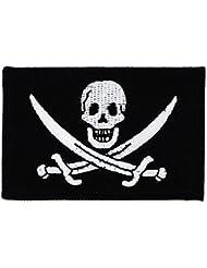 Patch écusson brodé drapeau pirate jack rackham tête de mort thermocollant
