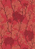 Orientalische japanische Tapete Bäume, Botanischer Garten, glitzernd, Rot/Gold / Schwarz