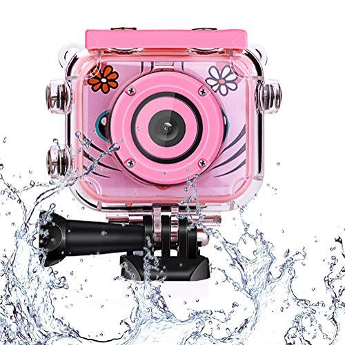 Toyzoom 1080p hd bambini fotocamera digitale impermeabile macchina fotografica per bambine bambina foto/video action cam impermeabile 30m - rosa