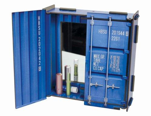 Werkhaus - Spiegelschrank Spiegel in Container-Optik, Blau, 28x27x8,5cm (CO1601)