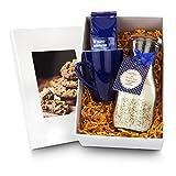 Dekorative Glasflasche mit Bio Cookie-Backzutaten, Winter Früchte Tee & blaue Tasse