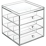InterDesign 36230, InterDesign Drawers Brillenbox | stapelbare Aufbewahrungsbox für Brillen, Lesebrillen & Sonnenbrillen | Schubladenbox mit 3 Schubladen | Kunststoff transparent