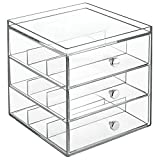 InterDesign Clarity Stacking 3 Drawer Organizer for Eyeglasses, Readers, Sunglasses - Clear