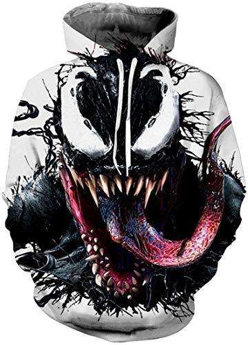 EUDOLAH Herren Pullover Pulli Bunt 3D Druck Pullover mit Kapuzen Pulli mit Aufdruck Galaxy Tier Langarm Pulli mit Tasche A-Venom 1 XXL/XXXL