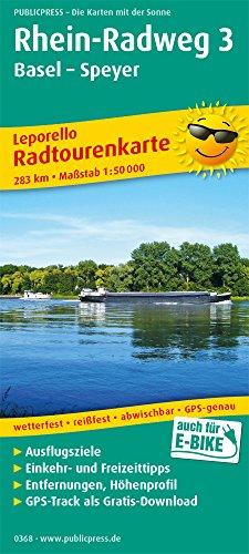 Rhein-Radweg 3, Basel - Speyer: Leporello Radtourenkarte mit Ausflugszielen, Einkehr- & Freizeittipps, wetterfest, reißfest, abwischbar, GPS-genau. 1:50000 (Leporello Radtourenkarte / LEP-RK)