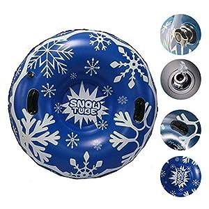 Moonvvin 120 cm großer, aufblasbarer Schneeschuhr, Schlitten, schwimmendes Skifahren, aufblasbarer Winter-Skirz, mit Griff für Kinder und Erwachsene