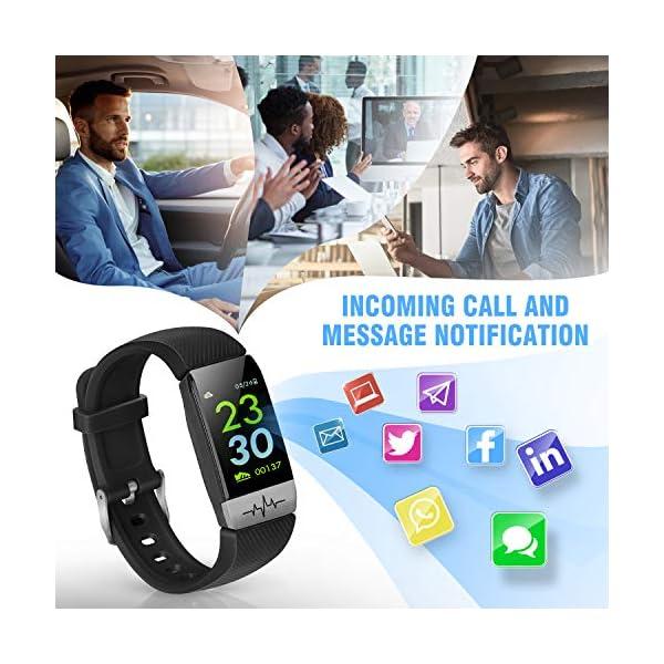 obqo Reloj Inteligente Pulsera Actividad Fitness Tracker con Pulsómetro,Monitor de Sueño de Presión Arterial,Podómetro,Contadores de Calorías IP67 Pulsera Deporte para Mujeres Hombres Android iOS 5