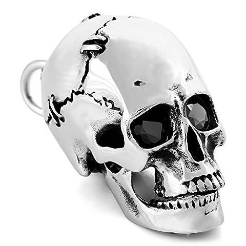 MENDINO Mens Large Heavy Stainless Steel Pendant Skull Gothic Biker