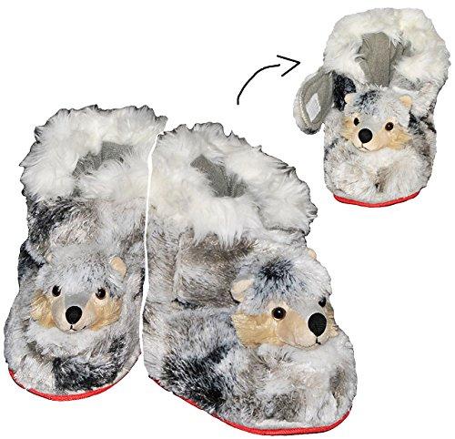 Unbekannt Hausschuh Wolf - SUPERWARM - Gr. 36 - 37 - gefütterter Plüschhausschuhe / Hausstiefel Stiefel warm Tier Tiere / für Kinder Größe Erwachsene / Boot Fell gefütt..