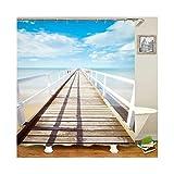 AmDxD Duschvorhang Polyester Badewannenvorhang Blauer Himmel Wolken Strand Aussicht Form Badewanne Vorhang für BadezimmerBlau Weiß 180x200CM
