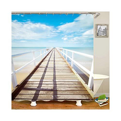 Amody 3D Digitale Drucken Blue Sky Clouds Beach View Badezimmervorhang waschbar Anti-Mehltau Wasser-sicherer Duschvorhang Blau Weiß Größe 90x180CM