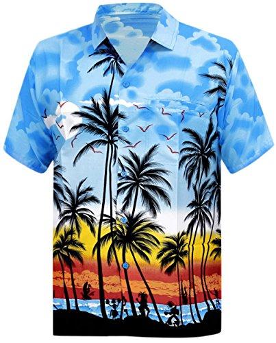 *la leela* remely liscia tunica di seta morbida tropicale shirt stampata blu brillante 327 2xl