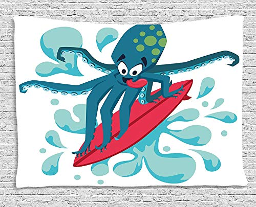 daawqee Ride The Wave Tapestry Surfer Octopus Having Fun Ocean Waves Underwater Fish Print for Living Room Bedroom Dorm 80 W X 60 L Inches Unique Home Decor